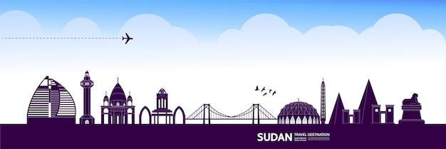 Grande illustration de destination de voyage au soudan