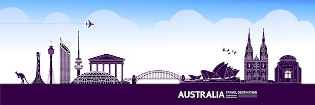 Grande illustration de destination de voyage australie.