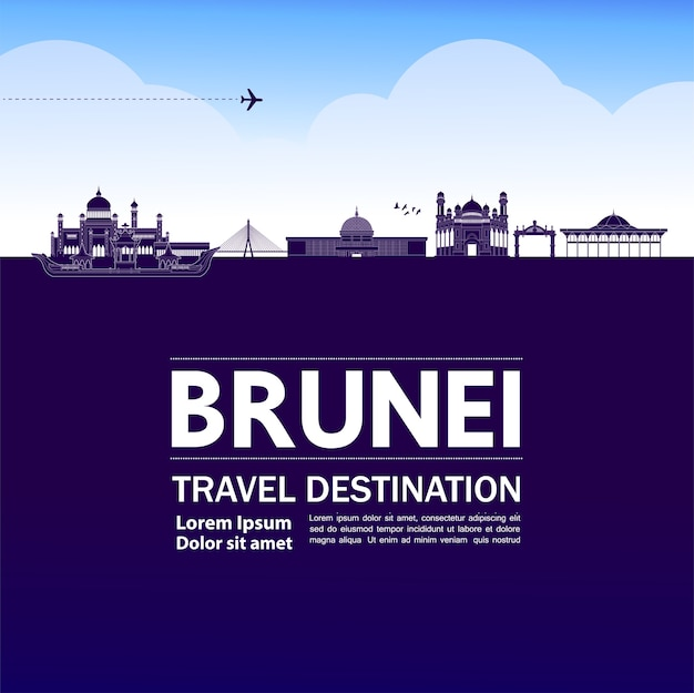 Grande illustration de destination de voyage brunei.