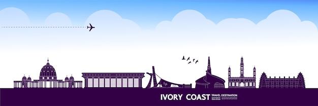 Grande illustration de destination de voyage en côte d'ivoire