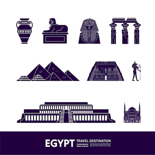 Grande illustration de destination de voyage en egypte