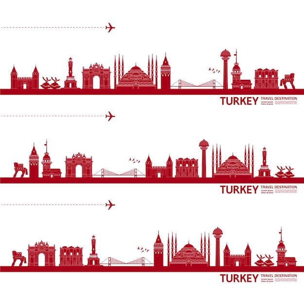Grande illustration de destination de voyage de turquie.