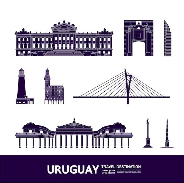 Grande illustration de destination voyage uruguay.