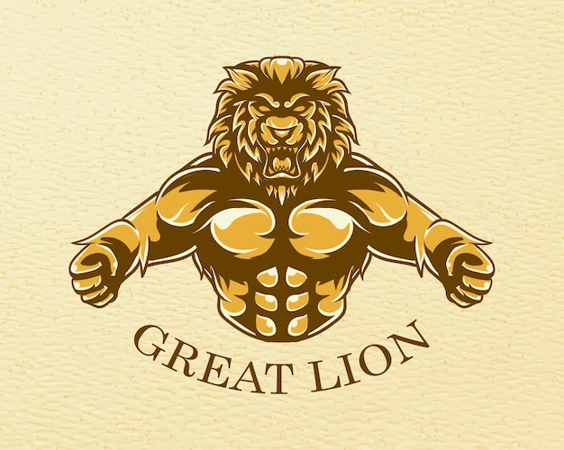 Grande illustration de lion avec texture grunge