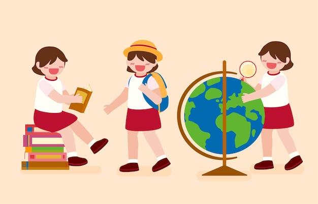 Grande illustration de personnage de dessin animé isolé d'enfants mignons lisant un livre et apprenant, et découvrant de nouveaux