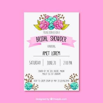 Grande invitation de bachelorette avec décor floral mignon