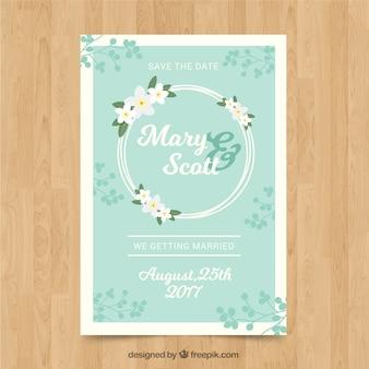 Grande invitation de mariage avec couronne florale
