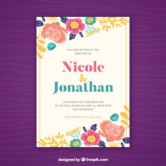Grande invitation de mariage avec des fleurs colorées