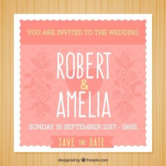 Grande invitation de mariage avec des fleurs dessinées à la main