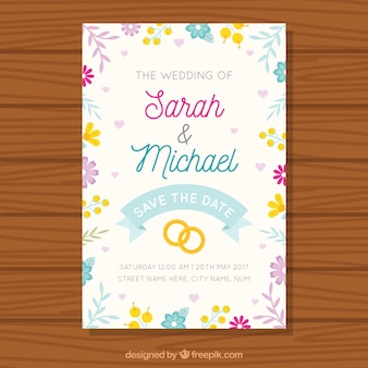 Grande invitation de mariage avec de jolies fleurs