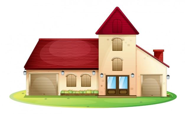Grande maison au toit rouge isolé