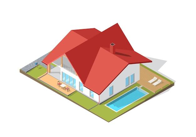 Grande maison moderne isométrique avec ombre