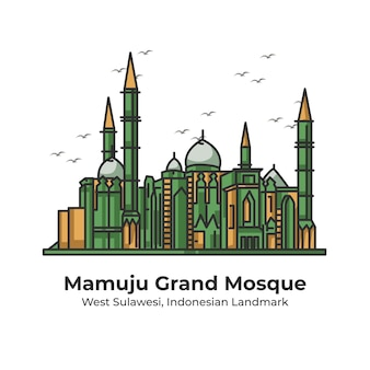 Grande mosquée de mamuju, repère indonésien, illustration de ligne mignonne