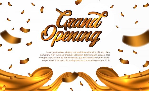 Grande ouverture confettis or et soie dorée