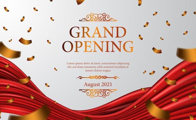 Grande ouverture de luxe avec rideau en tissu de soie ruban 3d classique pour cérémonie avec fond blanc et bannière de confettis affiche