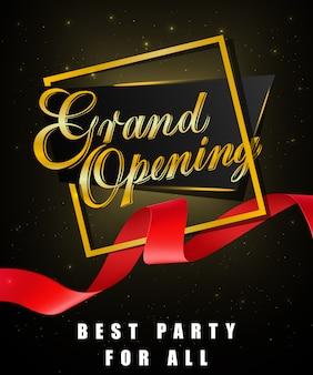 Grande ouverture, meilleure fête pour toutes les affiches festives avec cadre en or et ruban rouge agité