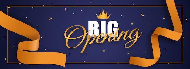 Grande police d'ouverture avec couronne et ruban de confettis doré sur bleu