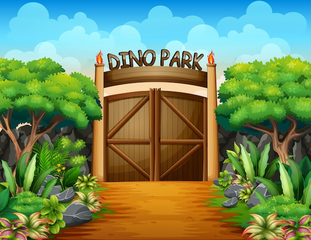 La grande porte du parc des dinosaures