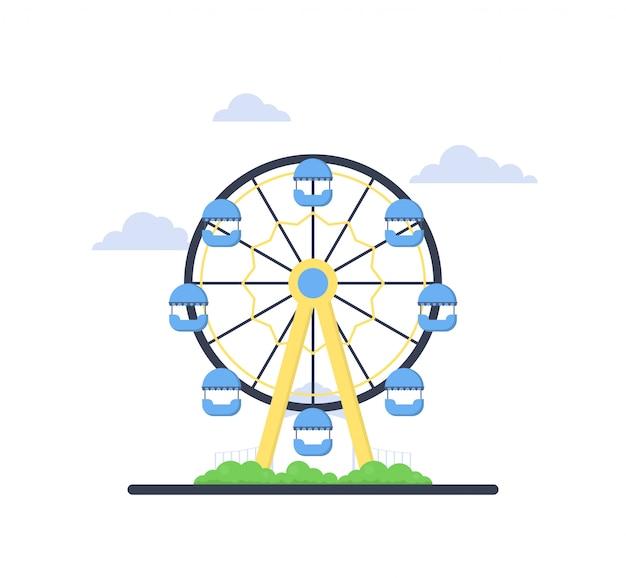 Grande roue plate colorée du parc d'attractions. thème de divertissement. attraction temps de plaisir en famille.