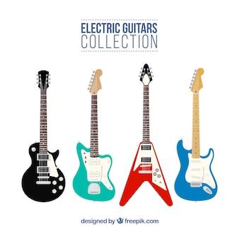 Une grande sélection de guitares électriques dans un design plat