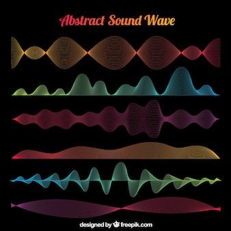 Une grande sélection d'ondes sonores abstraites de différentes couleurs
