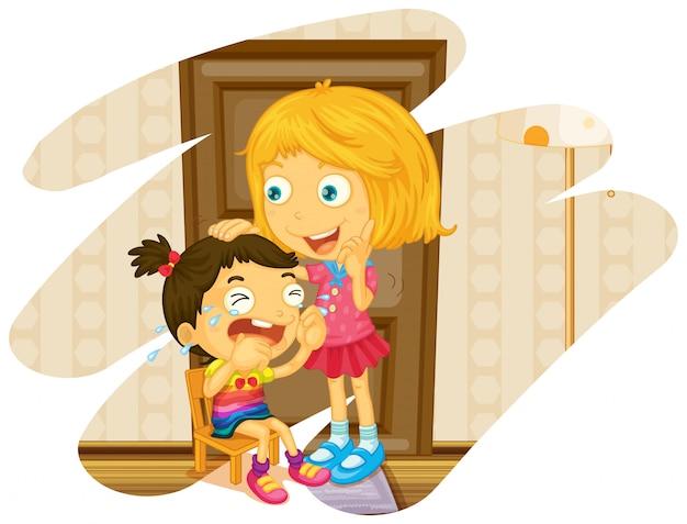 Grande soeur se réjouit quand petite soeur pleure