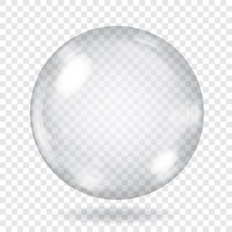 Grande sphère en verre transparent avec reflets et ombre.