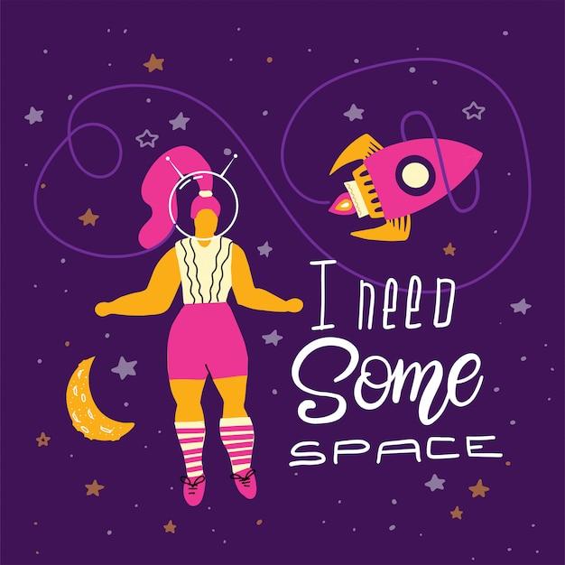 Grande taille femme dans l'espace avec lettrage