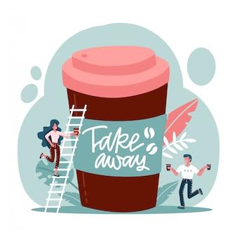 Grande tasse à café jetable et personnages épuisés tenant des tasses en papier café dans les mains.