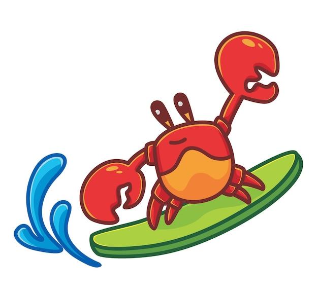 Grande vague de planche de surf de crabe mignon dans la plage de dessin animé animal voyage vacances vacances été isolé