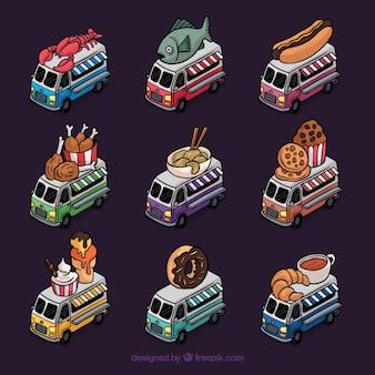 Une grande variété de camions d'alimentation dessinés à la main