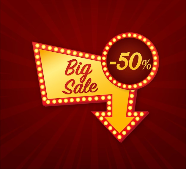Grande vente 50 pour cent concept bannière lumineuse de vente vendredi noir