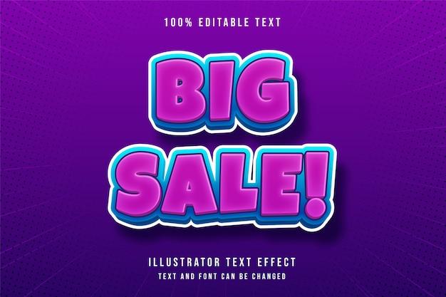 Grande vente, effet de texte modifiable 3d style de texte purle dégradé bleu moderne