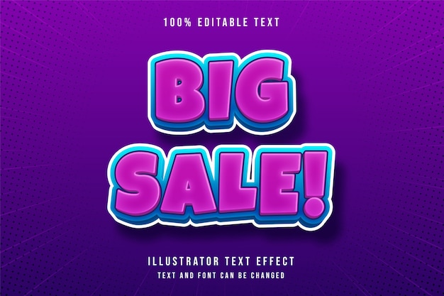 Grande vente, effet de texte modifiable 3d style de texte rose dégradé bleu moderne