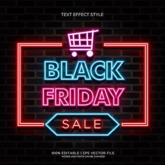 Grande vente effets de texte noir vendredi neon