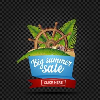 Grande vente d'été, bannière de réduction isolée sur un fond sombre