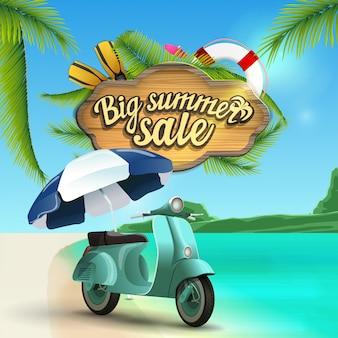 Grande vente d'été, bannière web avec panneau en bois à décor de mer