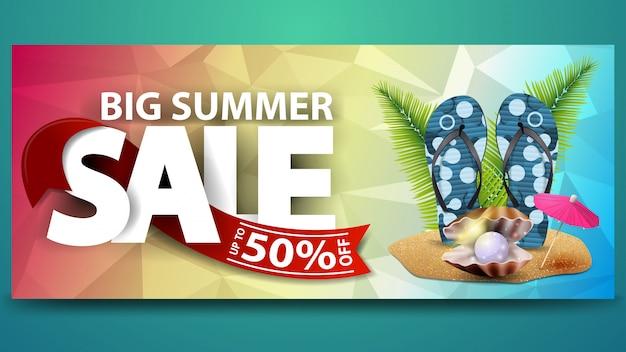 Grande vente d'été, bannière web à remise horizontale pour votre site web