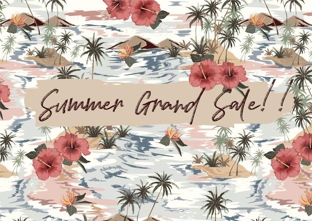Grande vente d'été avec île tropicale vintage avec feuilles exotiques, palmiers, fleur d'hibiscus rouge, vague, bannière de montagne