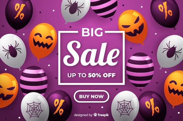 Grande vente d'halloween avec des ballons fantasmagoriques