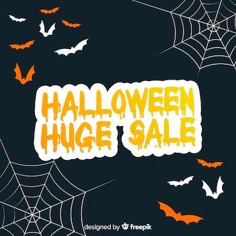 Grande vente d'halloween sur un design plat