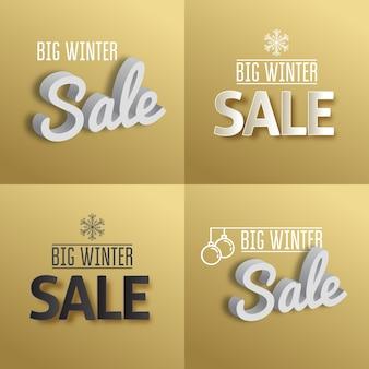 Grande vente d'hiver. définir le texte sur fond d'or