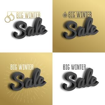 Grande vente d'hiver. définissez le texte 3d sur fond doré.