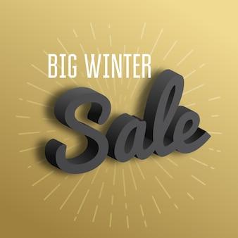 Grande vente d'hiver. le texte 3d sur fond d'or.
