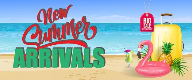 Grande vente, nouvelle bannière d'arrivées d'été. boisson froide, ananas, jouet flamant
