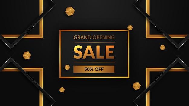 Grande vente d'ouverture avec texte doré
