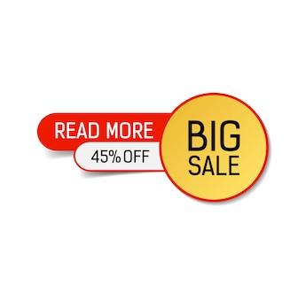 Grande vente quarante-cinq pour cent de réduction lire plus lettrage.