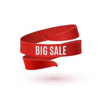 Grande vente. ruban rouge sur fond blanc.