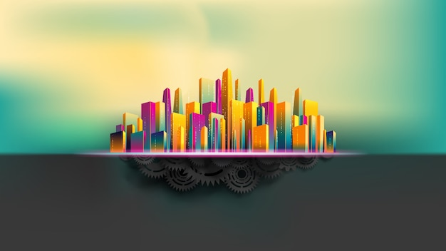 Grande ville entourée de gratte-ciel coloré, bâtie sur des engrenages et des engrenages noirs réalistes