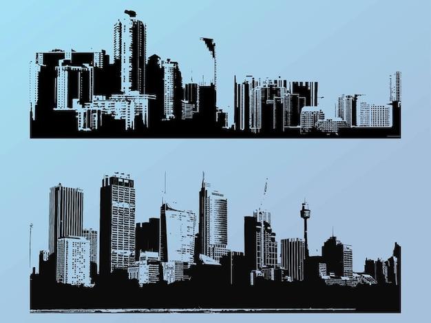 Grande ville gratte-ciel bâtiments silhouettes